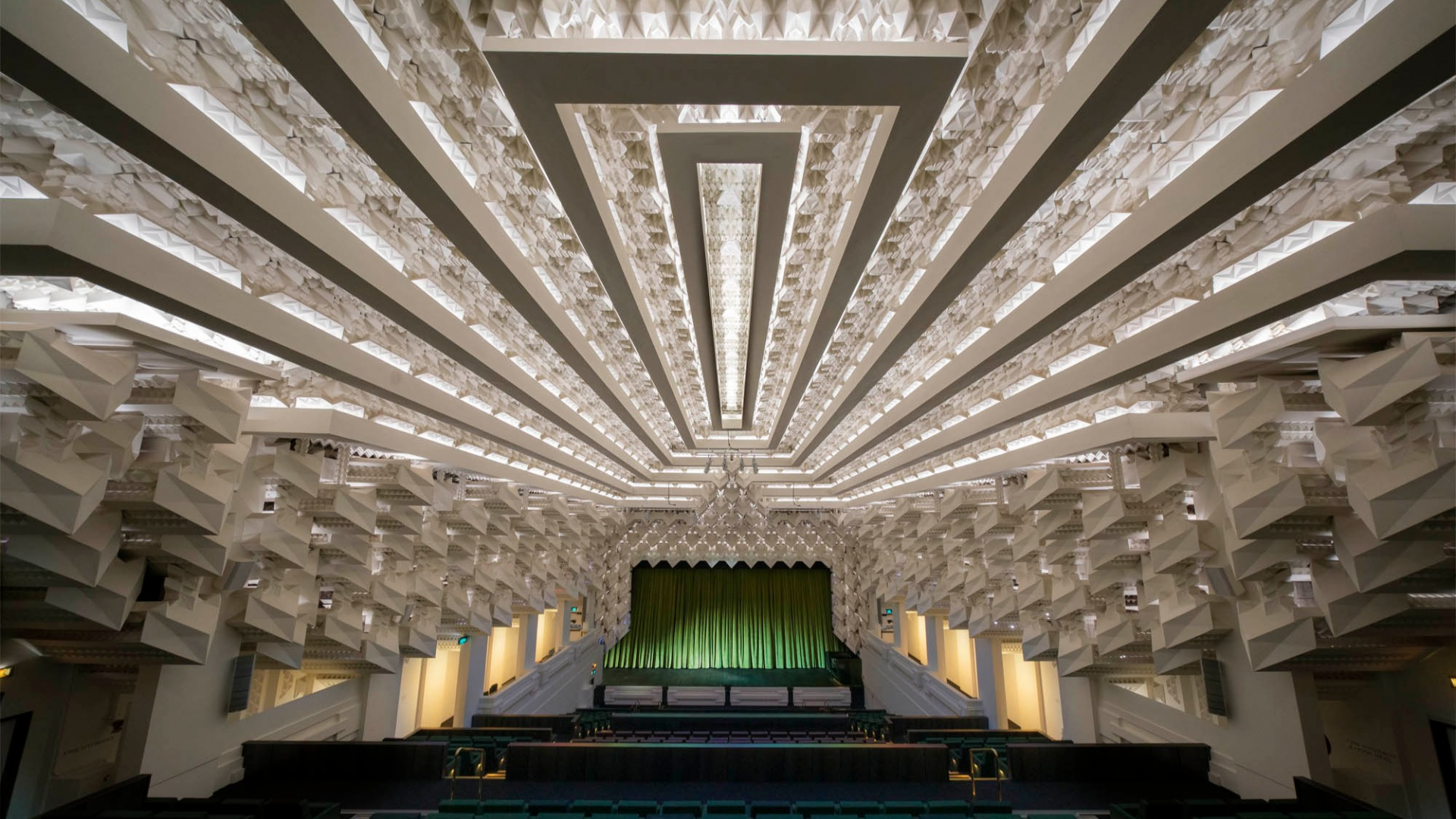 Interior of the geometric Theatre ceiling inside The Capitol.
